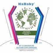 Kit 2 Canudos de Silicone com Limpador - KaBaby