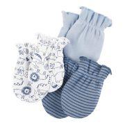 Kit 3 luvas de malha azul animais - Carters
