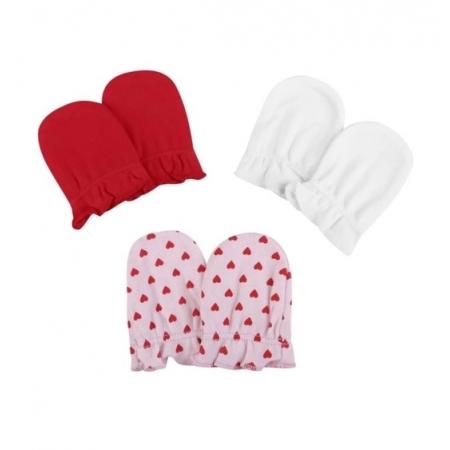 Kit 3 luvas recém nascido corações - Pimpolho