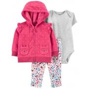Kit 3 peças com casaco fleece rosa poás - Carters