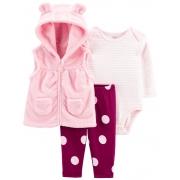 Kit 3 peças com colete de plush rosa - Carters