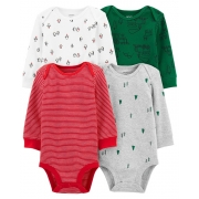 Kit 4 bodies manga longa Holiday verde - Carters
