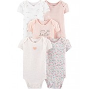 Kit 5 bodies manga curta rosa claro floral - Carters