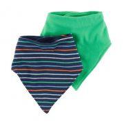 Kit babador bandana azul e verde - Carter's