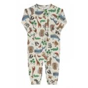 Macacão manga longa bege animais - Up Baby
