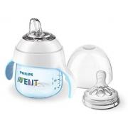 Mamadeira e copo de treinamento pétala azul (4M+) - Avent