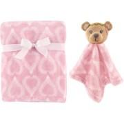 Manta de plush rosa Boho com naninha ursa - Hudson Baby