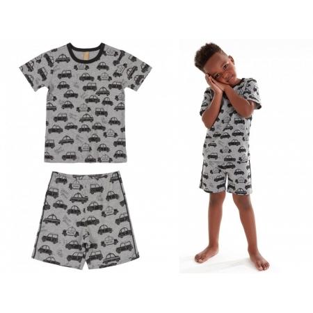 Pijama infantil verão com blusa e bermuda cinza carros - Up Baby