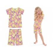 Pijama infantil verão com blusa e bermuda em suedine rosa - Up Baby