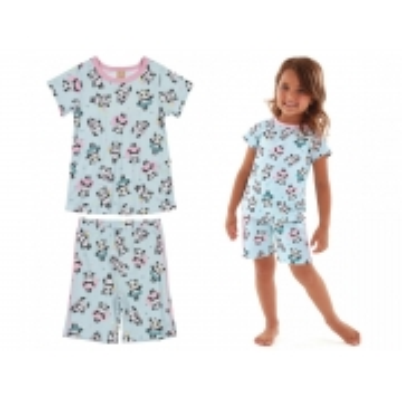 Pijama infantil verão com blusa e bermuda em suedine verde panda - Up Baby