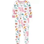 Pijama macacão de plush branco e rosa animais e flores - Carters