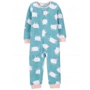 Pijama macacão de plush sem pé verde ovelhas - Carters