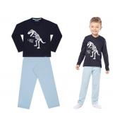 Pijama manga longa de malha azul dinossauro - Vrasalon