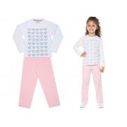 Pijama manga longa de malha rosa corações - Vrasalon