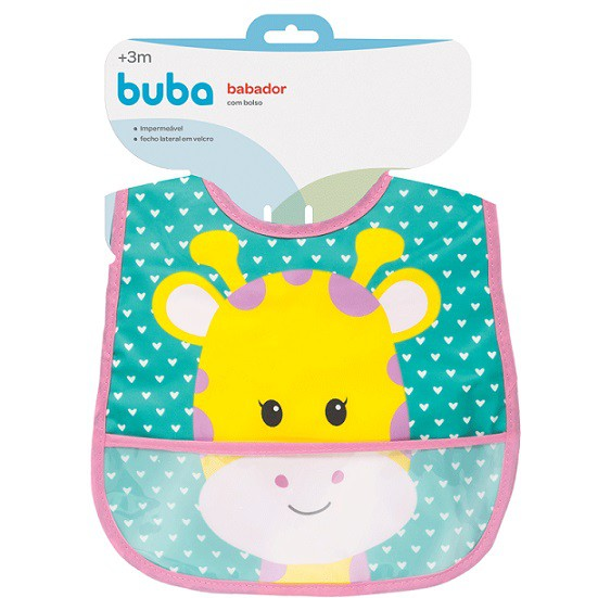 Babador com bolso Animal Fun - Buba  - Kaiuru Kids