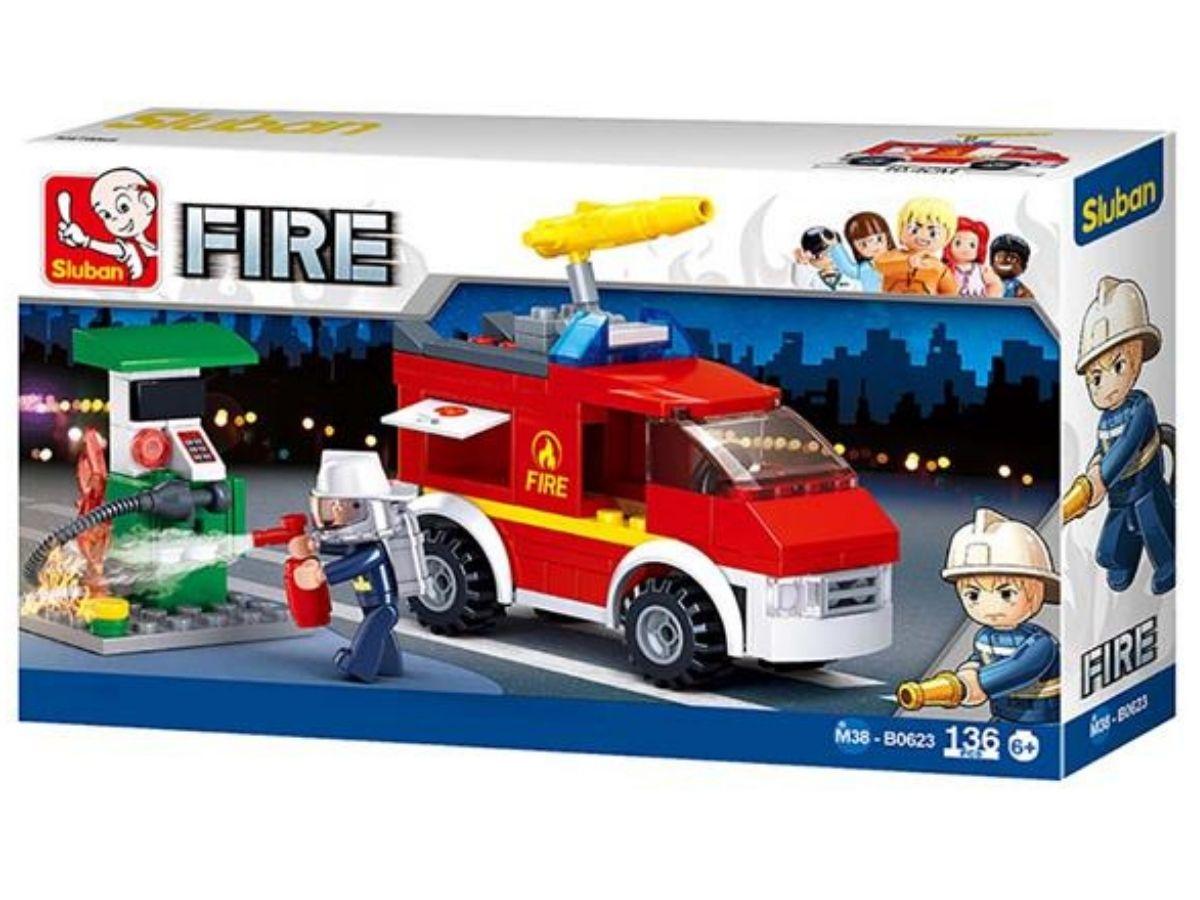 Blocos caminhão de bombeiro e posto de Gás 136 Peças 6+ anos - Multikids  - Kaiuru Kids