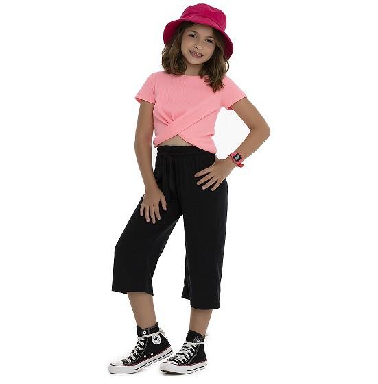 Blusa canelada rosa neon - Pega Mania  - Kaiuru Kids