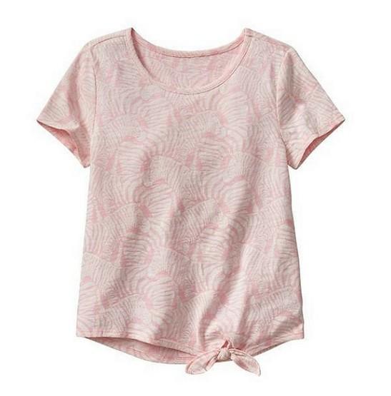 Blusa manga curta rosa estampada amarrada na cintura - GAP  - Kaiuru Kids
