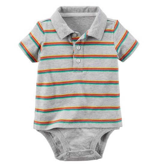 Body polo cinza listrado - Carter
