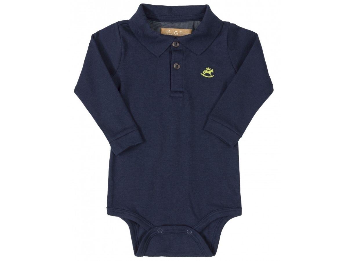 Body polo manga longa azul marinho - Up Baby  - Kaiuru Kids