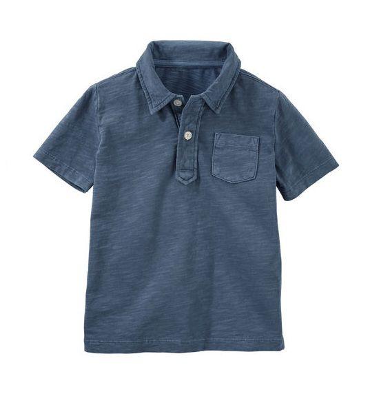 Camisa polo azul lisa com bolso - OshKosh  - Kaiuru Kids