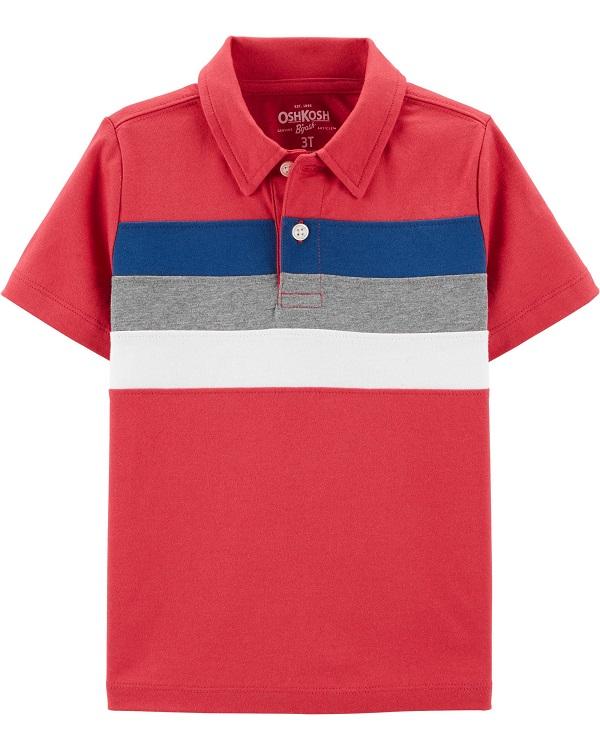 Camisa polo vermelha com listras - OshKosh  - Kaiuru Kids