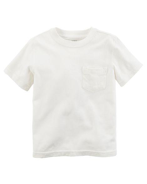 Camiseta branca lisa com bolso - Carter