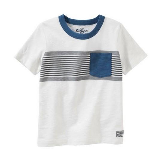Camiseta branca listrada com bolso - OshKosh  - Kaiuru Kids