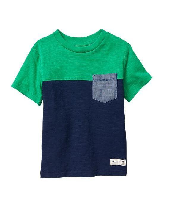 Camiseta colorblock com bolso - GAP  - Kaiuru Kids