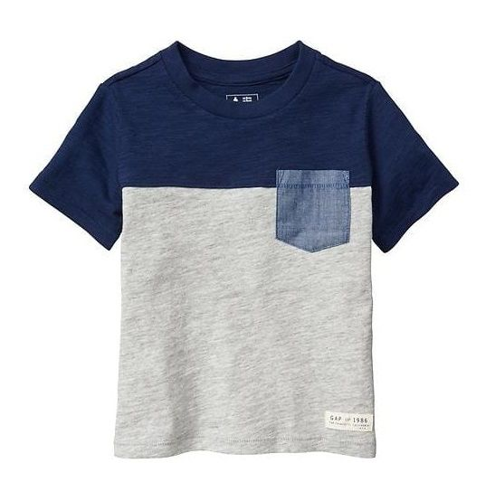 Camiseta colorblock com bolso - GAP  - Kaiuru Kids