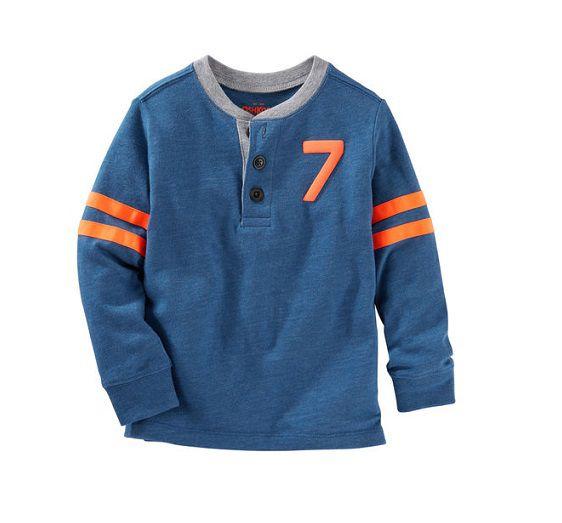 Camiseta henley manga longa azul - OshKosh  - Kaiuru Kids