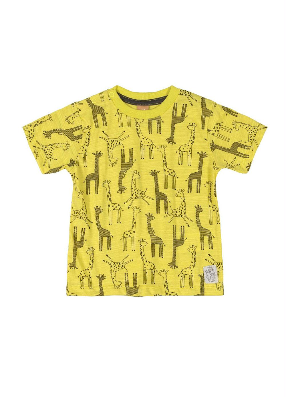 Camiseta manga curta amarela girafas - UP Baby  - Kaiuru Kids