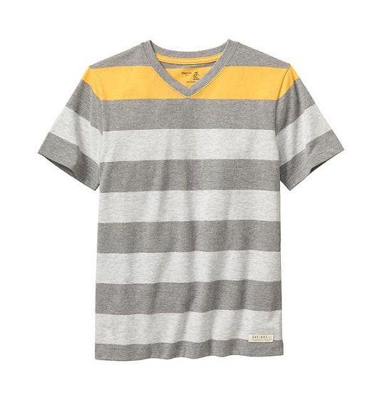 Camiseta manga curta cinza listrada - GAP - Kaiuru Kids - roupas e ... 1192adb0f9bf5