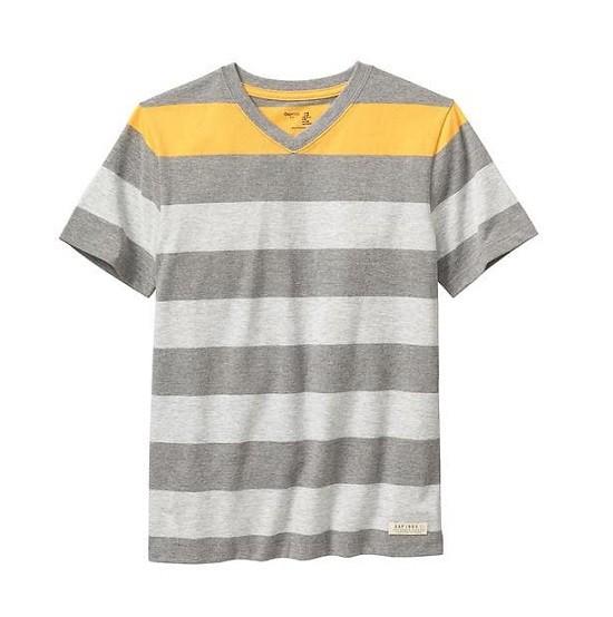 Camiseta manga curta cinza listrada - GAP  - Kaiuru Kids