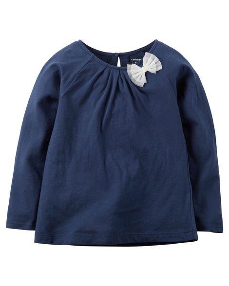 Camiseta manga longa azul laço - Carter