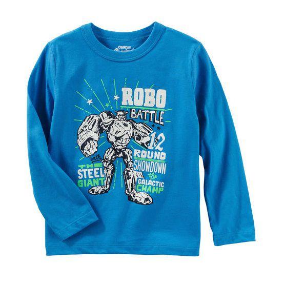 Camiseta manga longa azul robô - OshKosh  - Kaiuru Kids