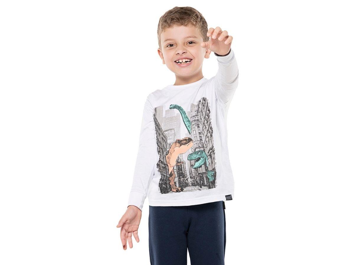 Camiseta manga longa branca Dinossauros na cidade - Vrasalon  - Kaiuru Kids