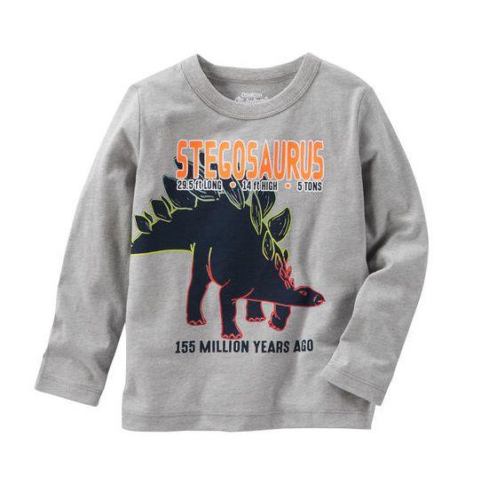 Camiseta manga longa cinza dinossauro - OshKosh - Kaiuru Kids ... 0951c8c8deb65