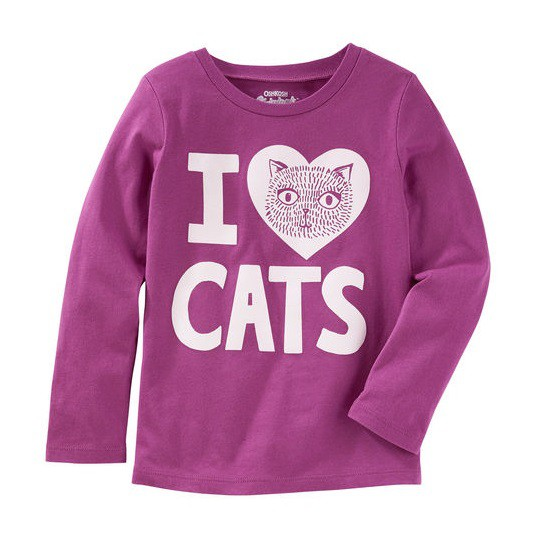 Camiseta manga longa Eu amo gatos - OshKosh  - Kaiuru Kids