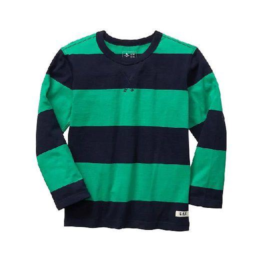 Camiseta manga longa listrada verde - GAP  - Kaiuru Kids