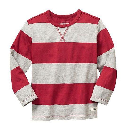 Camiseta manga longa listrada vermelha - GAP  - Kaiuru Kids