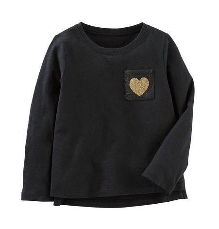 Camiseta manga longa preta coração - Carter