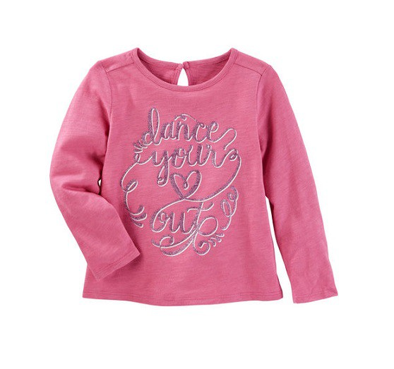 Camiseta manga longa rosa coração -  OshKosh  - Kaiuru Kids