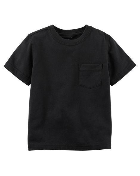 Camiseta preta lisa com bolso - Carter