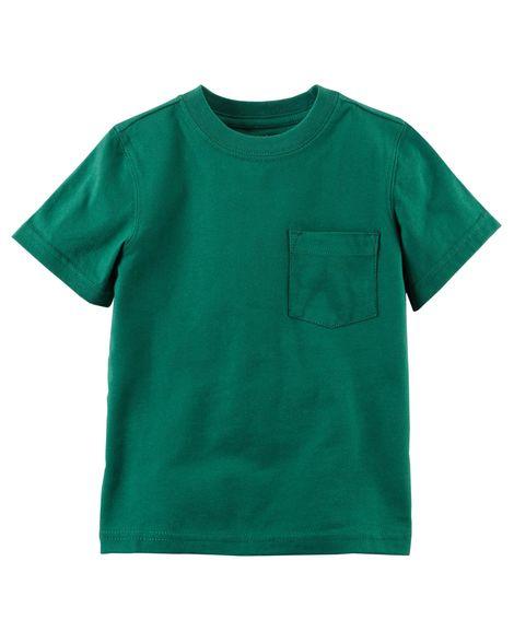 Camiseta verde lisa com bolso - Carter