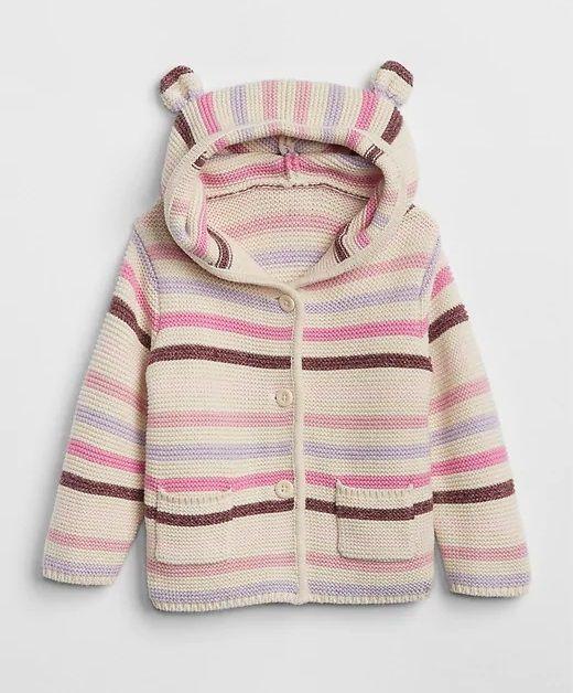 Casaco de lã urso rosa listrado - GAP  - Kaiuru Kids