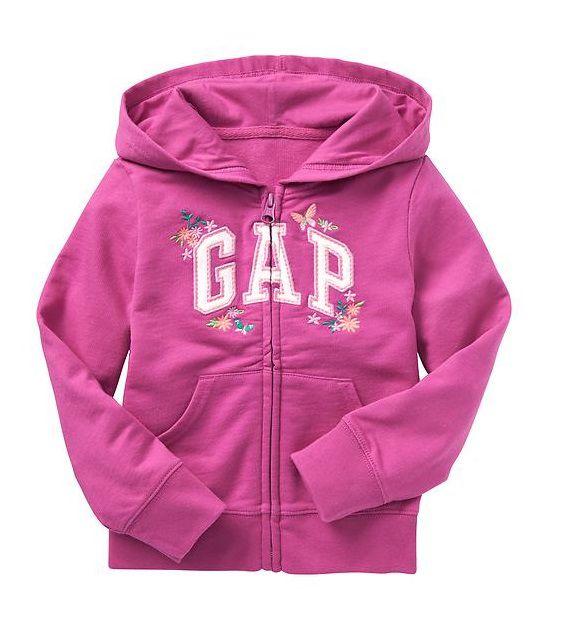 Casaco de moletom rosa bordado - GAP  - Kaiuru Kids