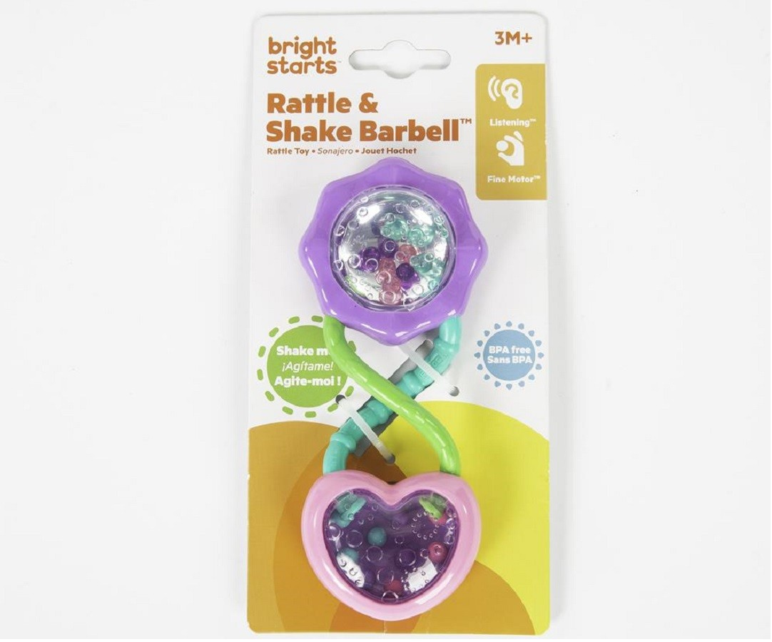 Chocalho Pip Rattle e Shake Barbell - Bright Starts  - Kaiuru Kids