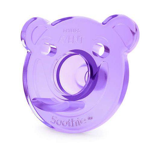 Chupeta de silicone Urso 0-3M rosa e lilás - Avent  - Kaiuru Kids
