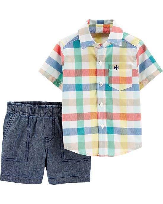 Conjunto bermuda chambray e camisa xadrez - Carters  - Kaiuru Kids